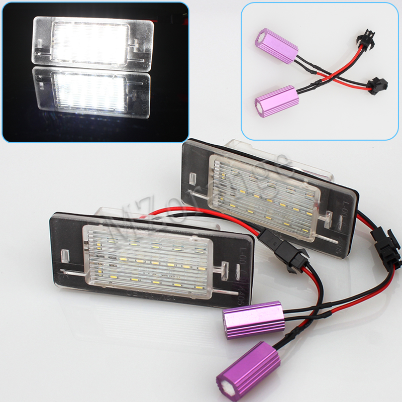2x for Opel Vectra C Estate 2002-2008 Tourer Car Light Canbus 3528SMD Led License Plate Light Number Plate Lamp Car Light Bulbs 2pcs led number license plate light 12v white smd led canbus lamp bulb car styling for opel astra g corsa a b vectra b tigra