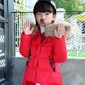 Зимние Дети Девушки Теплые Капюшоном Вниз & Парки Дети Длинные Верхняя Одежда Куртки и Пальто для девочек