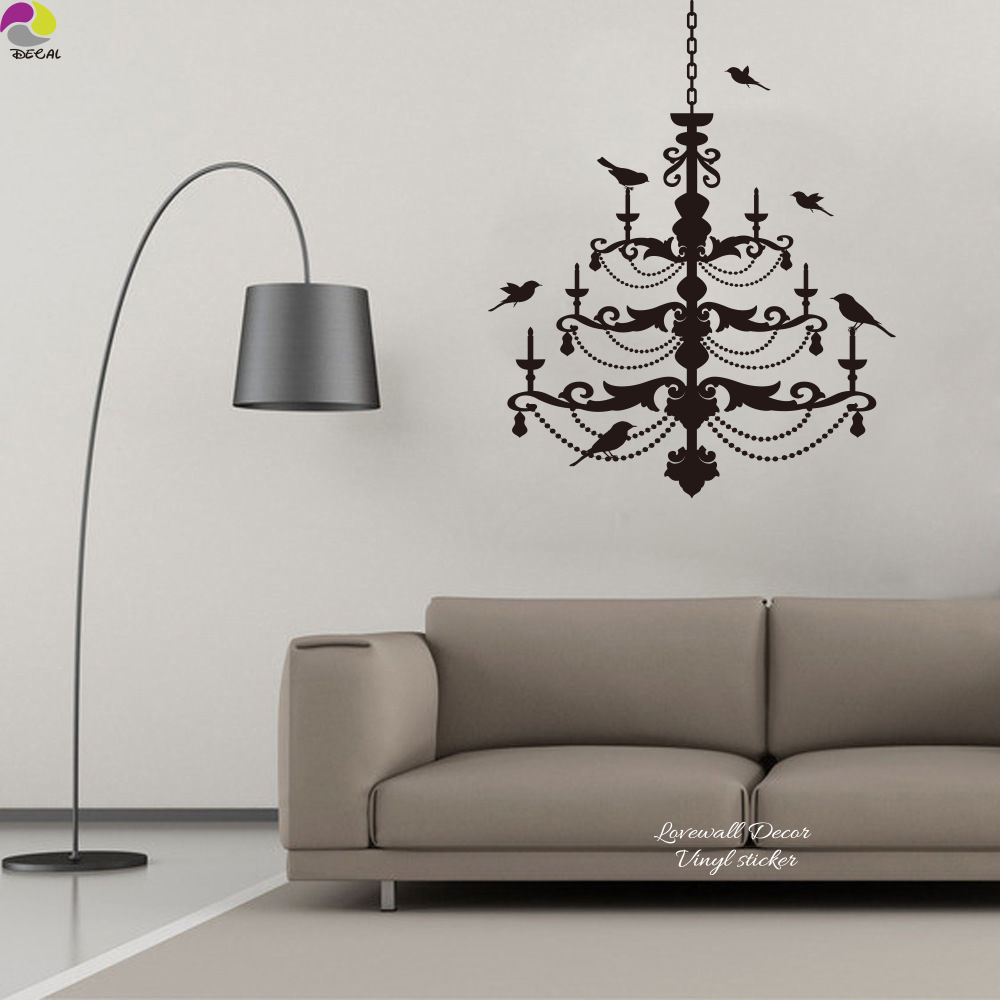 Ceiling Chandelier Wall Sticker Bedroom Living Room Lantern Light Lamp  Birds Decal Wedding Party Kids Room Vinyl Home Decor Art In Wall Stickers  From Home ...