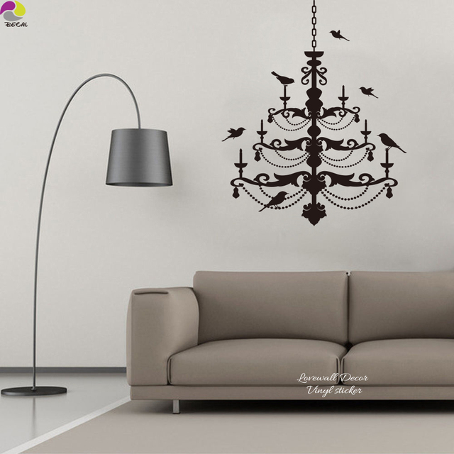 Ceiling Chandelier Wall Sticker Bedroom Living Room Lantern Light Lamp  Birds Decal Wedding Party Kids Room