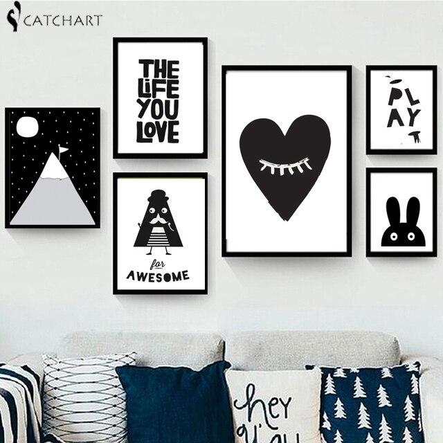nuevos cuadros decorativos cartel arte para nios habitacin beb pintura blanco y negro batmanconejito - Cuadros En Blanco Y Negro