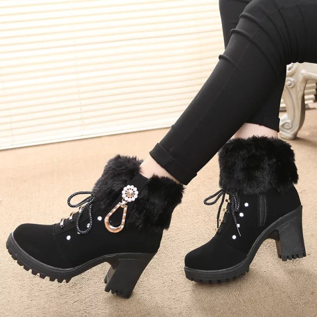 2017 Hot Fashion women high heel half short ankle boots winter martin snow  botas fashion footwear warm heels boot shoes-in Ankle Boots from Shoes on  ... 346d31e35