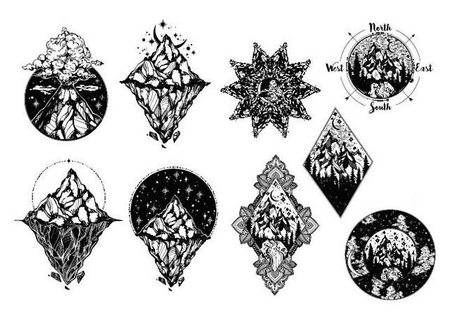 Waterproof Temporary Fake Tattoo Stickers Cool Black Mountain