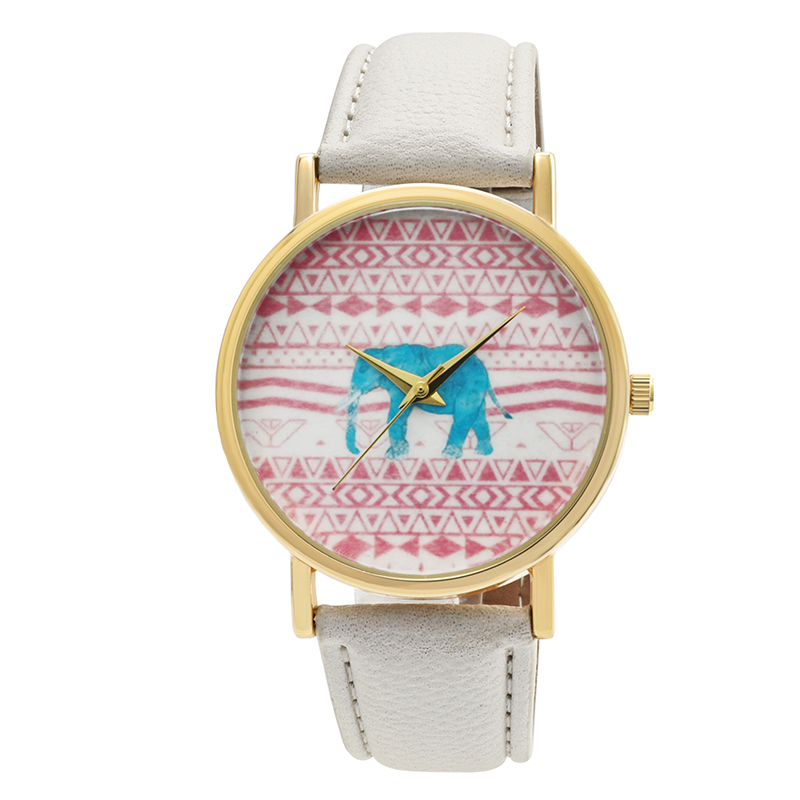 Cute Pink Elephant Image Lady Watch Gold Color White Strap Wrist Watch For Girls Quartz Wristwatch Fashion Design Casual Wearing