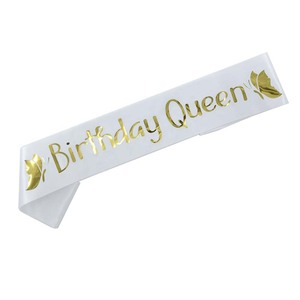 Image 2 - Birthday Queen Satin Ribbon Sash 20th 21st 30th 40th 50th Birthday Sash for Women Girl Happy Birthday Party Decorations Supplies