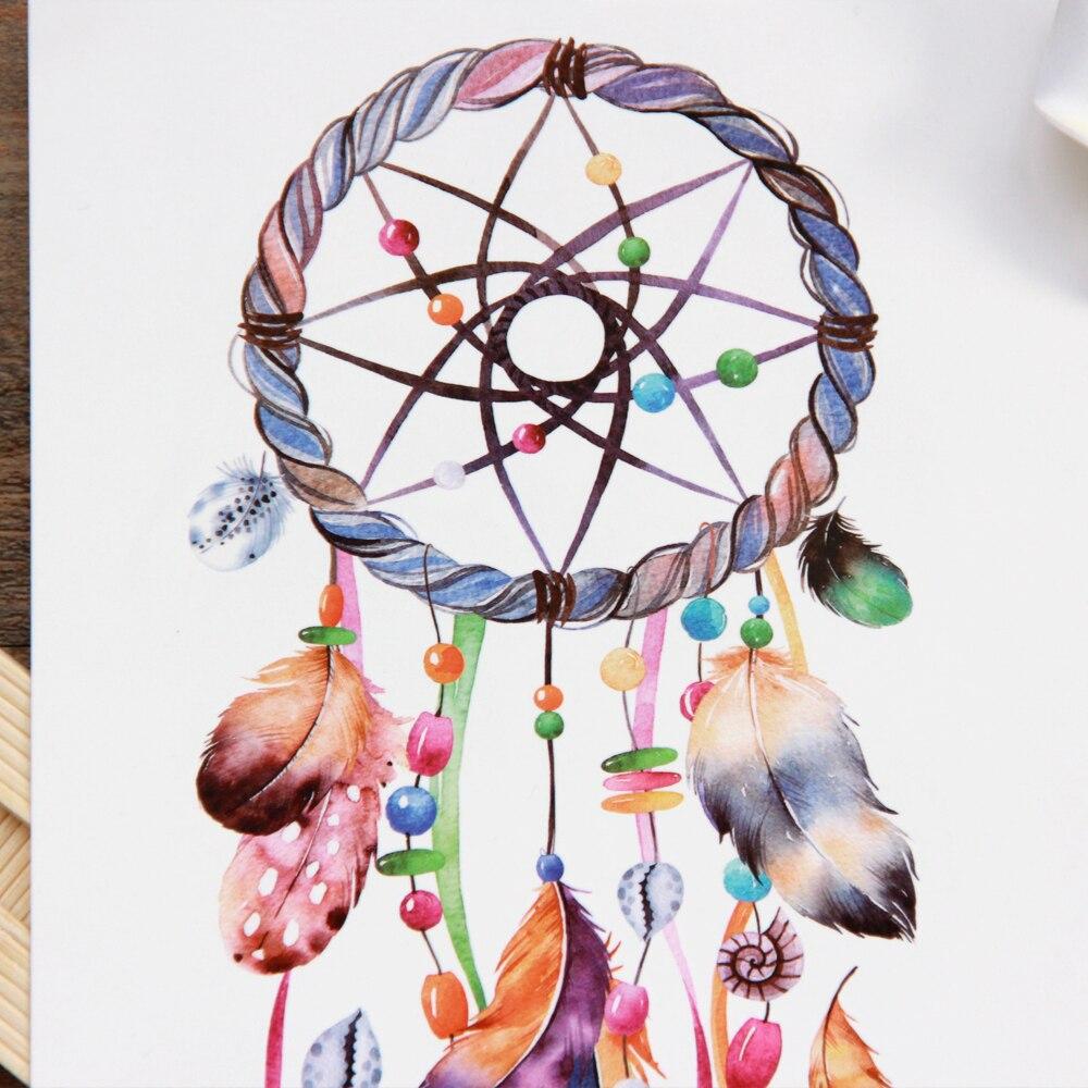 Waterproof Temporary Tattoo sticker colorful dreamcatcher 1