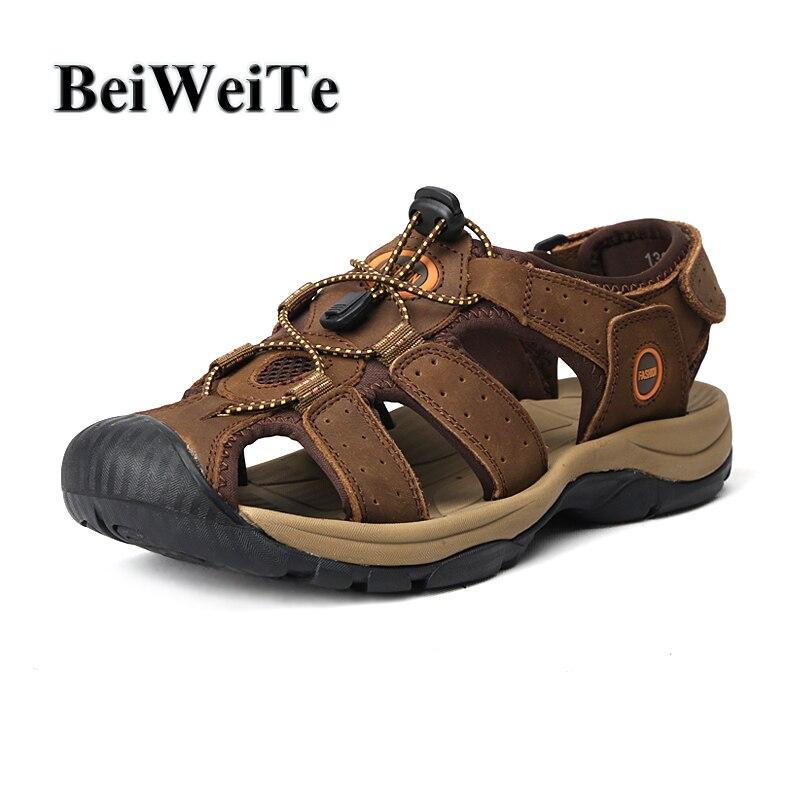 BeiWeiTe Для мужчин летние босоножки из натуральной кожи с закрытым носком противоскользящие резиновые пляжные воды кроссовки большой Размеры...