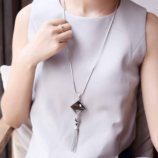 brixini.com - Crystal Square Crystal Pendant Necklace