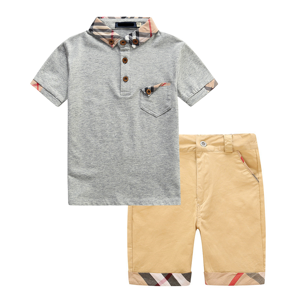 Summer Set for Boys 2018 Cotton Plaid Girls Sets Children Clothes Toddler Boy Suit Lapel Design Short-Sleeved Top+Shorts 2pcs 2016 summer europe fashionable girls cute girls short bow wave shorts cotton suit birthday gift for girls