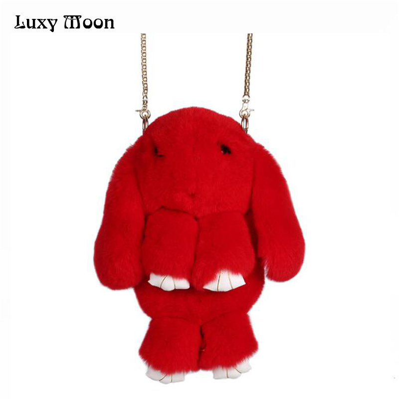 цена Luxy Moon 100% Rabbit Fur Handbags Winter Shoulder Bag Real Fur Handbag Women Messenger Bag Lovely Bunny Shoulder Bag Tote ZD457