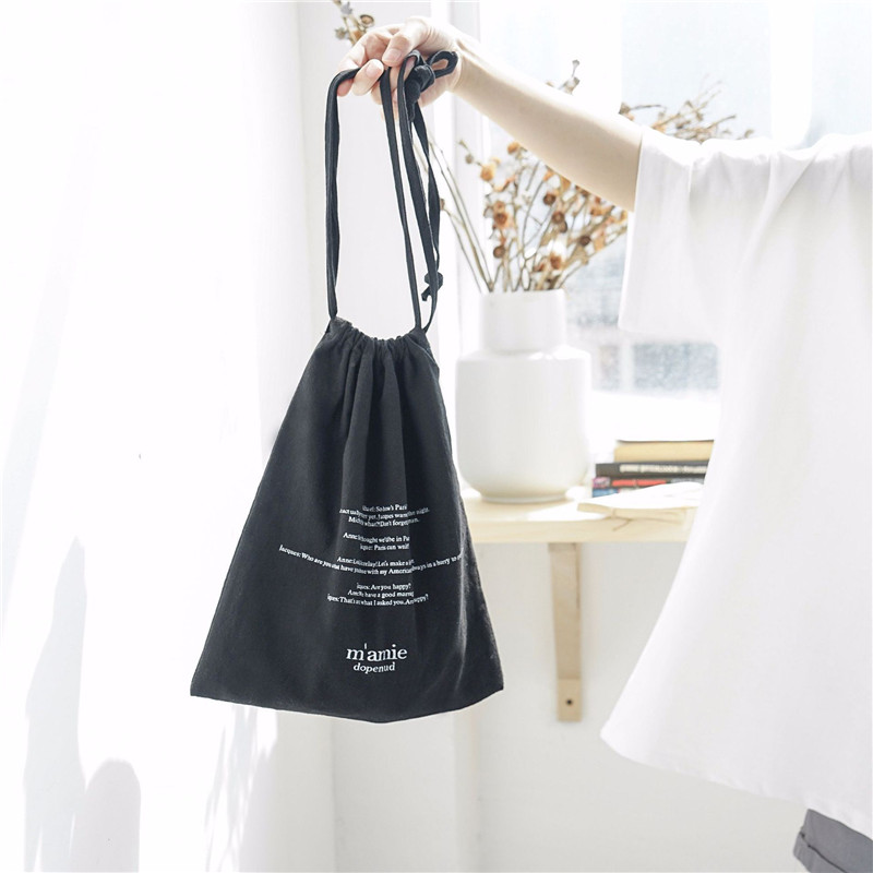 YILE 1 Set (3pcs) Cotton Drawstring Travel Organizer Bag Casual Wrist Bag Print English Letter 4 Colors To Choose From E77