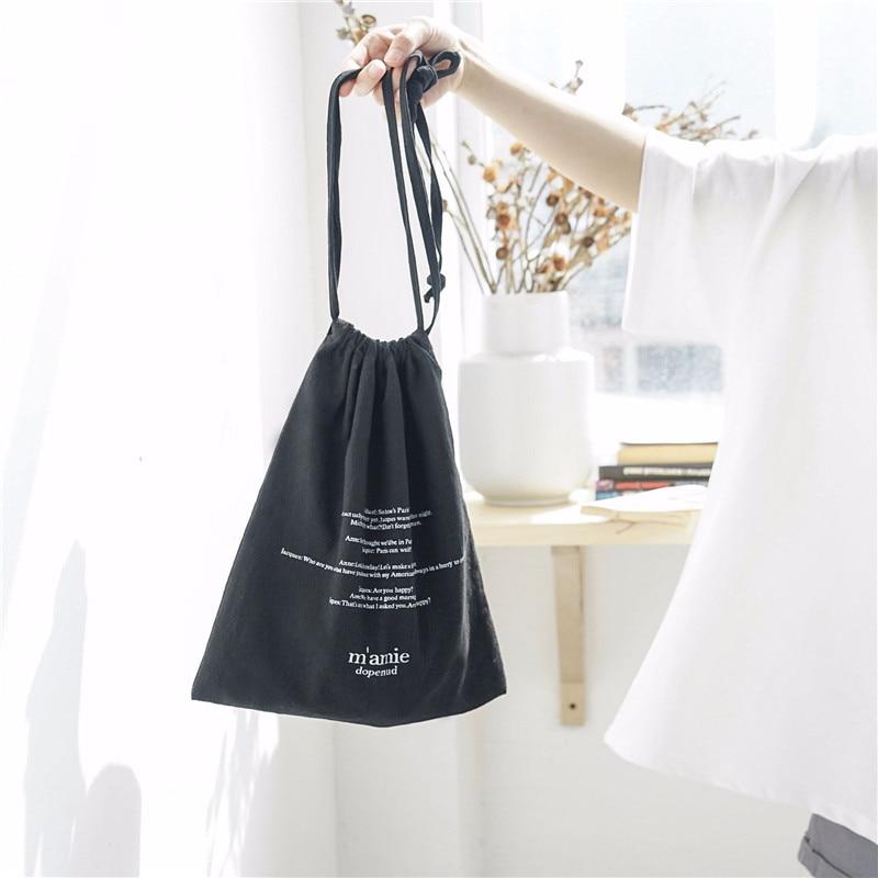 YILE 1 Set (3pcs) Cotton Drawstring Travel Organizer Bag Casual Wrist Bag Print English Letter 4 Colors To Choose From E77