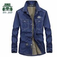 AFS JEEP Winter Denim Fleece Thickness Full Sleeve Shirt Wholesale Price Men S 100 Cotton Denim