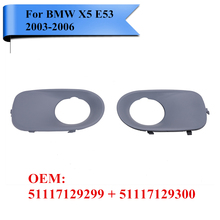 2x Front Bumper Fog Light Lamp Trim Covers Grilles Grill For BMW X5 E53 2003 – 2006 51117129299 51117129300 Car Styling P422-ZW