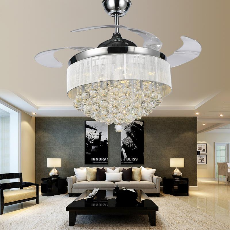 Steel Ceiling Fan With Lights Crystal Chandelier Ceiling