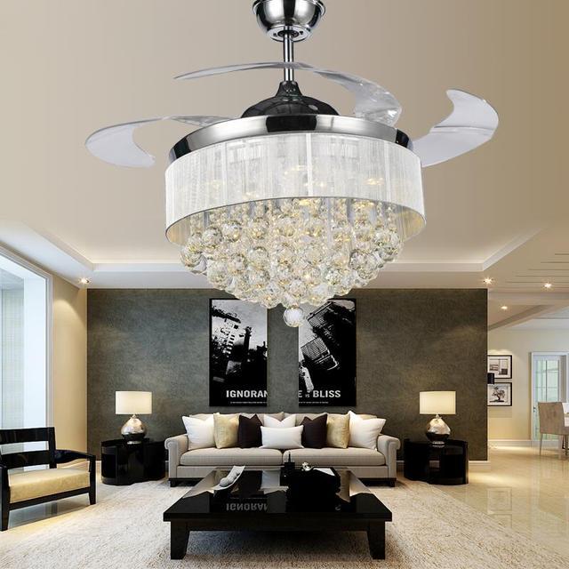 Steel Ceiling Fan With Lights Crystal Chandelier Fans Ventilador Kkn