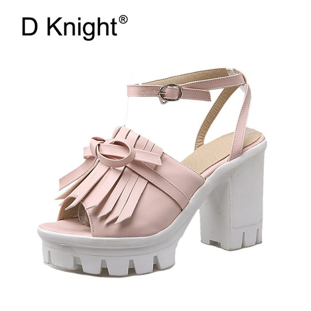e63fc54d2b03 Big Size Summer Pink Black White Platform Women High Heels Sandals Open Toe  Fish Head Tassel Buckle Strap Sandal Shoes For Women