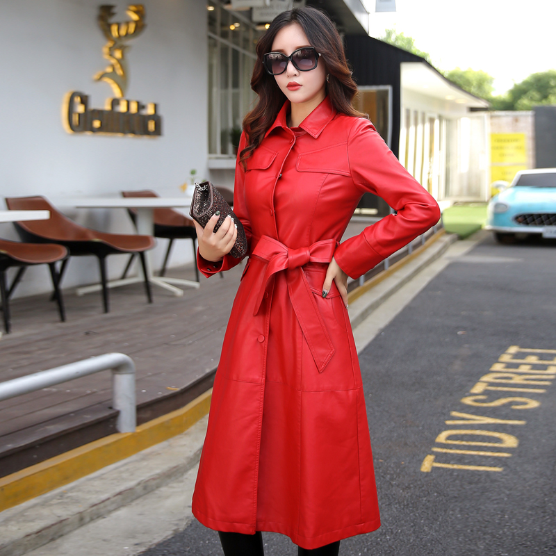 Image 4 - 5xl especially female leather autumn long faux jackets coat  single breast turn down collar large swing women leather trench  coatwomens leather trench coatleather trench coatwomens leather  trench