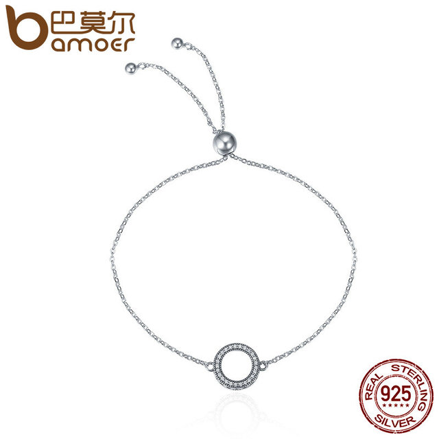 BAMOER Trendy 925 Sterling Silver Glittering Rotondi del Cerchio di Collegamento Chain Bracciali Strand per Le Donne Gioielli In Argento Sterling SCB030