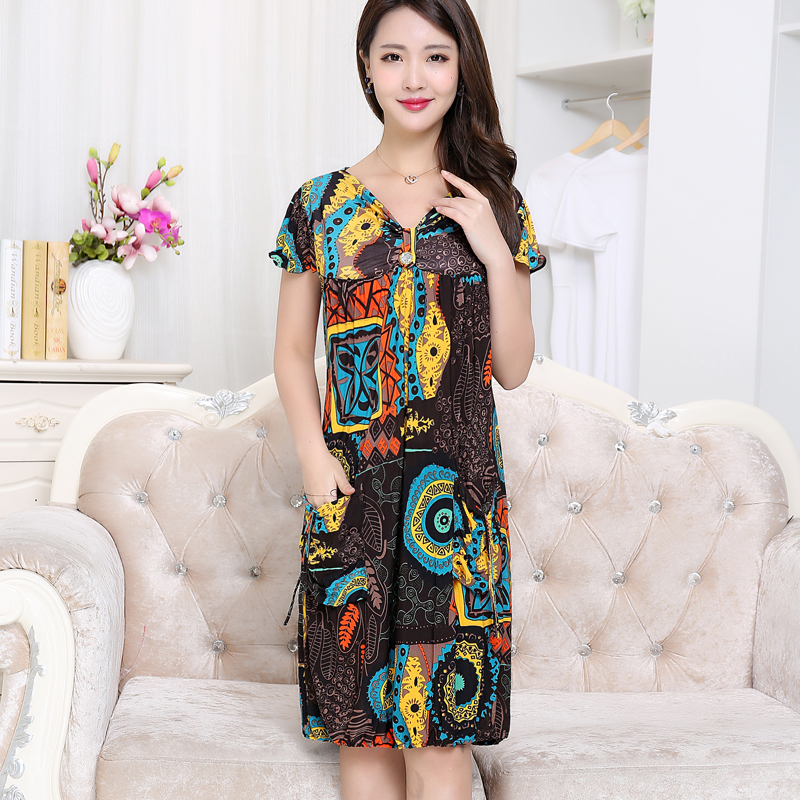 2018 New arrival Elderly womens summer dress middle-aged mother large size short sleeved retro floral printing