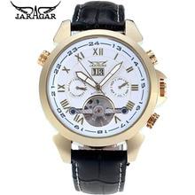 2016 JARAGAR Top Brand Hombre Relojes Orologio Uomo Oro 4 Manos Fecha Tourbillon Reloj Mecánico Automático Del Reloj Caja de Regalo