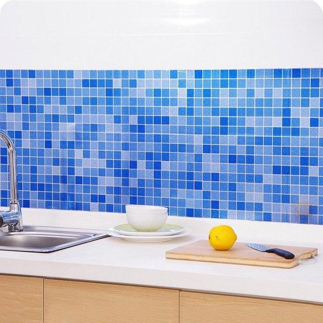 Diy Mosaik Tahan Air Aluminium Foil Diri Adhensive Anti Minyak Dapur Wallpaper Panas Stiker Dinding