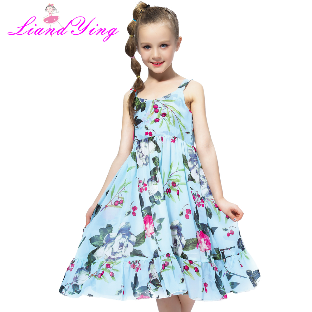Beach Summer 2018 Casual Flower Princess Teenage Kids Dress Floral Chiffon Children Toddler Girls Dress Girl Baby Vestido Party beach summer 2018 casual flower princess teenage kids dress floral chiffon children toddler girls dress girl baby vestido party