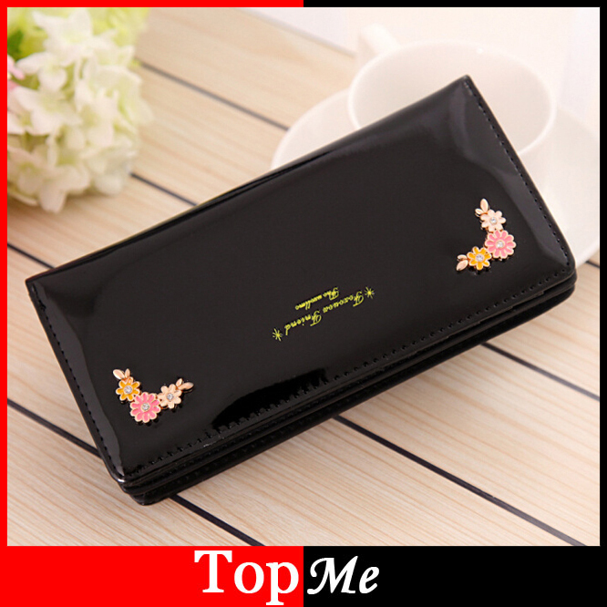 Women Wallets cards holder Patent PU leather Flowers lady money bags coin purse Long Woman Clutch wallet Handbags Burse Notecase