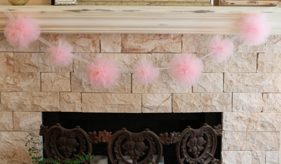 pink pom pom garland tulle garland baby shower decorations bridal shower decorations