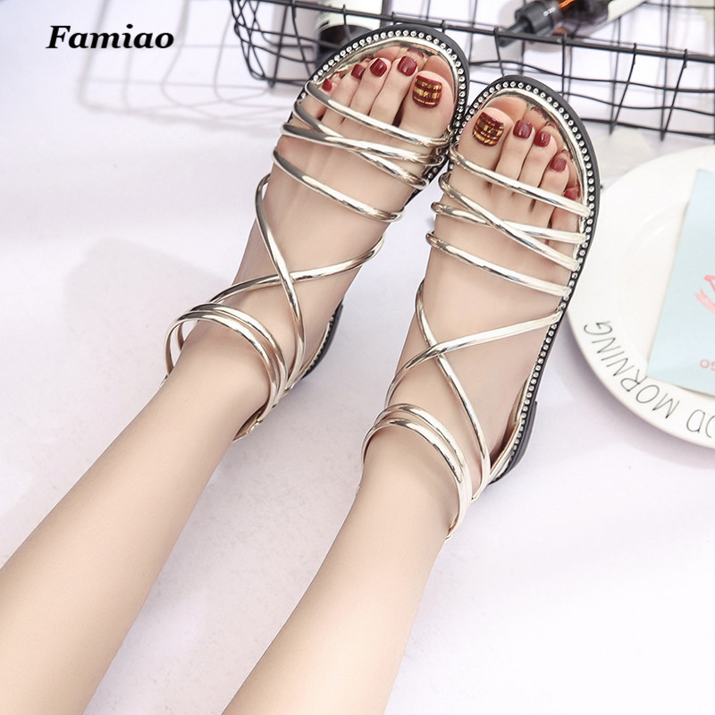 Gladiator Sandals 2017 Summer Flip Flops Vintage Platform Shoes Woman Ankle Strap Flats Women Shoes feminino chaussure phyanic 2017 gladiator sandals gold silver shoes woman summer platform wedges glitters creepers casual women shoes phy3323
