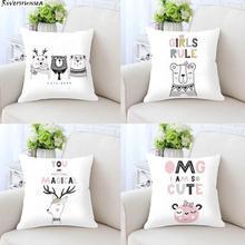 Nordic Style Kids Decoration Cute Cat Cushion Bear Deer Whale Rabbit Princess Unicorn Horse Print Plush Pillow For Office Chair