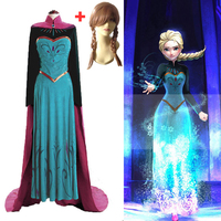 New Adult Princess Anna Elsa Princess Dress Queen Anna Costume Grow Princess Elsa Cosplay Costume for Women Halloween Costumes