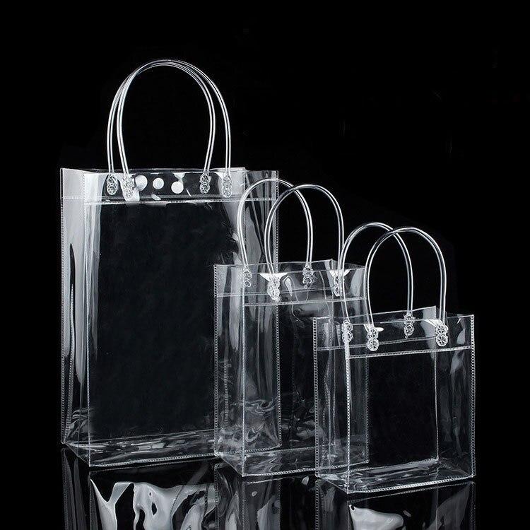 10 шт ПВХ пластиковые подарочные пакеты с ручкой пластиковые упаковочные мешки для вина прозрачные сумки вечерние сумки модные PP сумки с кно...