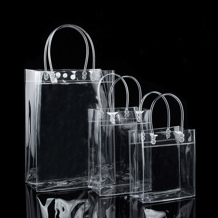 10pcs PVC Plastic Gift Bags With Handles Plastic Wine Packaging Bags Clear Handbag Party Favors Bag Fashion PP Bags With Button