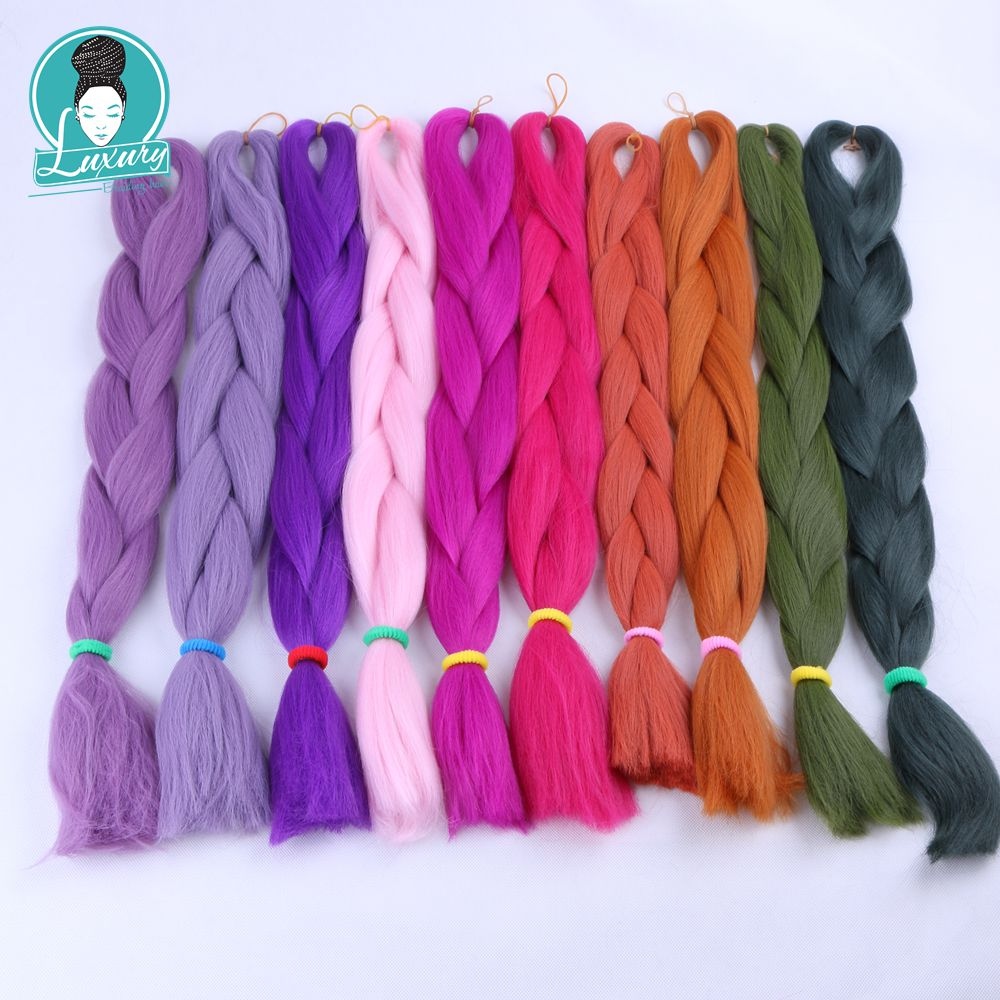 Luxury For Braiding 10packs 24 94colors Navy Neon Olive Lavender Lilac Vintage Grey Synthetic Fiber Jumbo