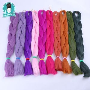 """Image 1 - Luxury For Braiding 10packs 24"""" 94colors Navy Neon Olive Lavender Lilac Vintage Grey  Synthetic Fiber Jumbo Braids"""