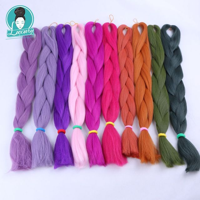"""Luxury For Braiding 10packs 24"""" 94colors Navy Neon Olive Lavender Lilac Vintage Grey  Synthetic Fiber Jumbo Braids"""