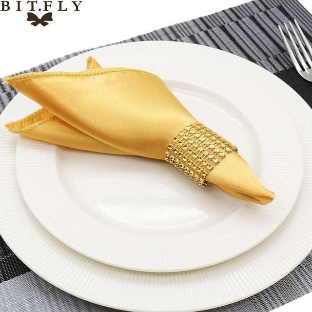 50pcs 30cm Table Napkins cloth Square Satin Fabric Napkin Pocket Handkerchief for Wedding birthday home party Hotel gold white
