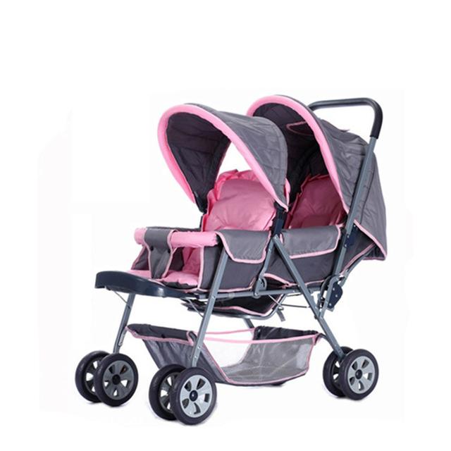 Nuevo Diseño Gemelos Cochecito de Bebé Puede Sentarse Mentira Plegable Fácil Cochecito Paisaje de Alta A Prueba de Golpes de Bebé Carro de Coche de Bebé Portátiles