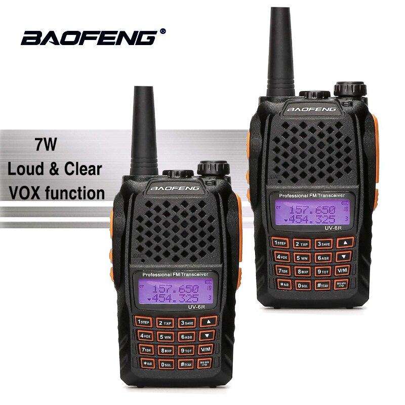 2 pcs Baofeng UV-6R Orange Clavier Talkie Walkie 10 km 7 w UHF VHF Double Bande UV 6R FM Radio VOX Alarme Jambon Hf Émetteur-Récepteur PTT UV6R