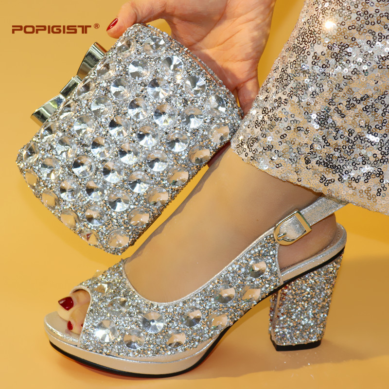 Shining crystal silver color big stones evening clutch cross body bag decoration platform shoes in lady