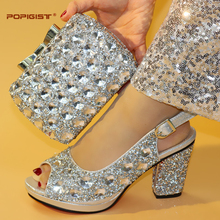 Shining crystal silver color big stones evening clutch cross body bag  decoration platform shoes in lady bf451672989c