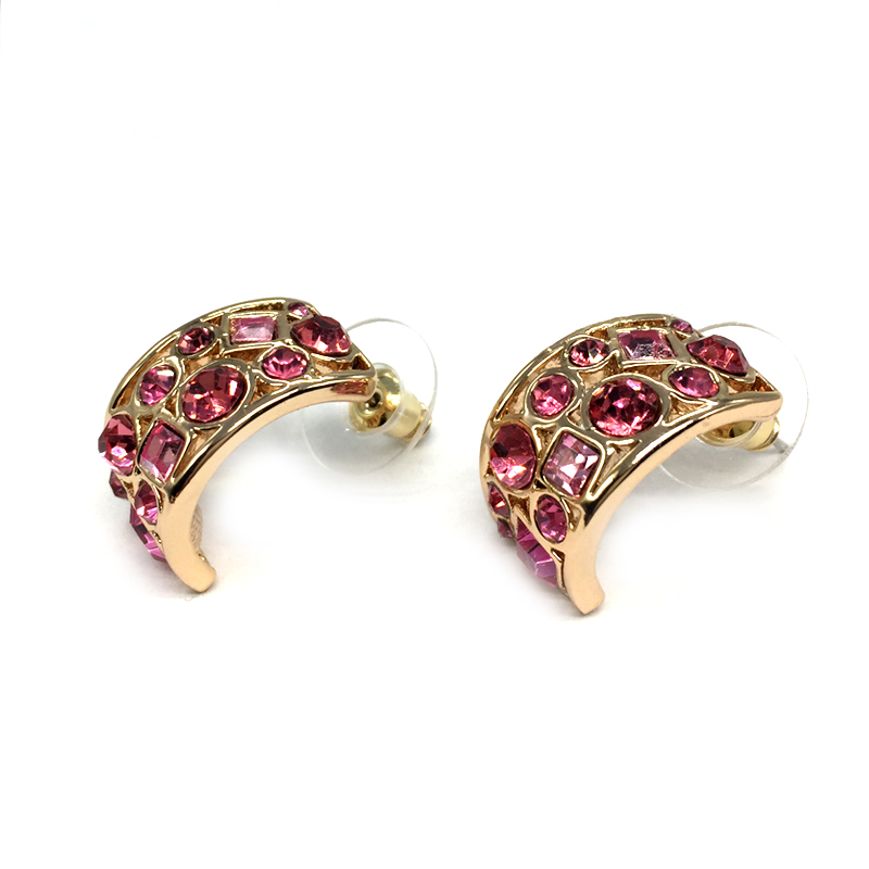 CNANIYA Women Jewelry Fashion Earrings Studs Geometric Shape Semicircle  Rhinestone Earrings For Girl Boucles D oreille Cristaux 4df44fa41096