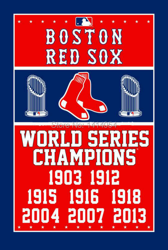 Boston Red Sox World Series Champions Flag 150X90CM MLB 3X5 FT Banner 100D Polyester flag grommets 009, free shipping