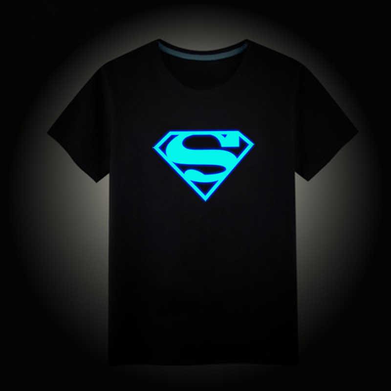 2018 Ragazze Dei Ragazzi Delle Magliette 3-15Years Bambini Maniche Corte Maglietta Superman Batman bambini Luminosi Top Club Luce di Notte Punk Tees