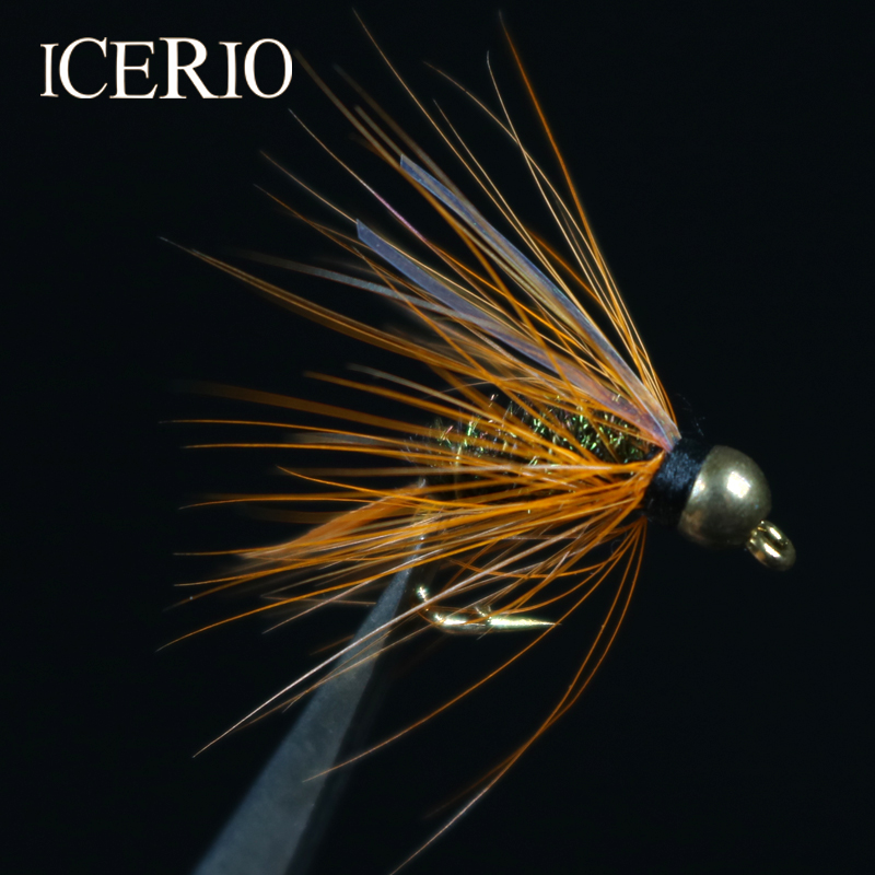 ICERIO 8PCS Brass Bead Head Hackle Flash Prince Nymph Trout Fly Fishing Lures #12 32pcs set assorted nymph fishing fly combo trout bass blue gill panfish artificial lures with free double faced waterproof tac