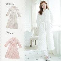 Зимние халат пижамы дамы хлопок длинный халат Для женщин зима изделия пижамы Пижамы для женщин Винтаж Ночная рубашка высокого качества