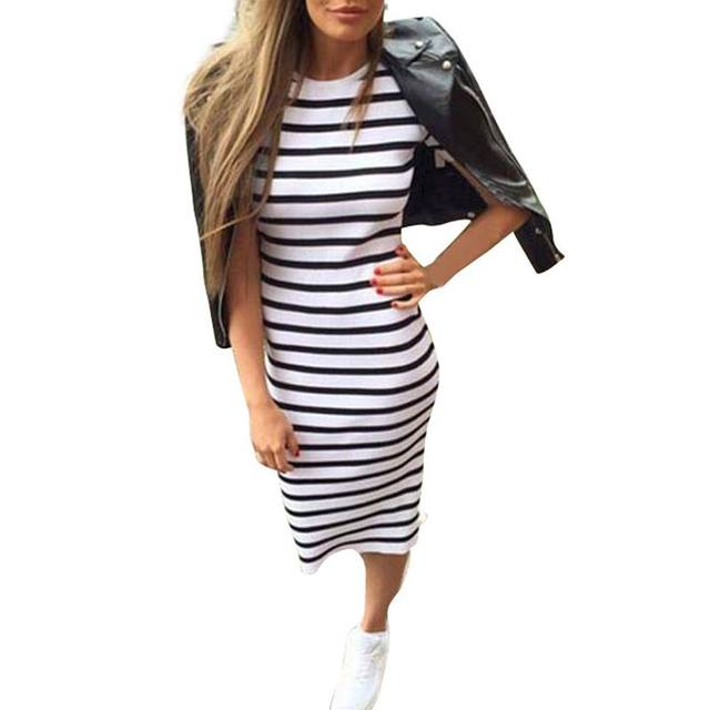 2018 Summer Fashion Stripe Summer Dress Women Long Maxi BOHO Sundress Slim Beach Cotton Loose Casual Dresses