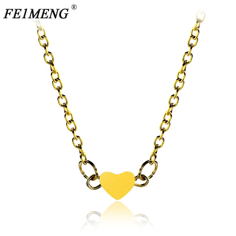 Simple Cute Gold Color Heart Shape Necklace Vinage Chain Choker Pendant Necklace For Women Jewelry Collana Bijoux Fashion Gift
