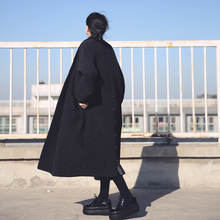WM001 Fashion elegant oversized black long maxi thick trench coat